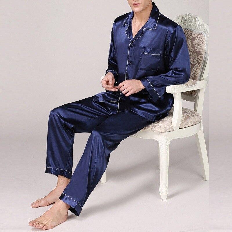 Пижамы наборы мужчины к 2020 году новые мужские пятно шелковые пижамы шелковые пижамы современный мужской стиль мягкие удобные атласная ночная рубашка мужской одежды