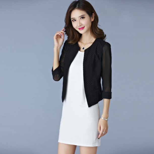 Элегантный однотонный кардиган для женщин, короткое пальто, сетчатый тонкий укороченный топ, офисная одежда, блейзер, куртка AQ515