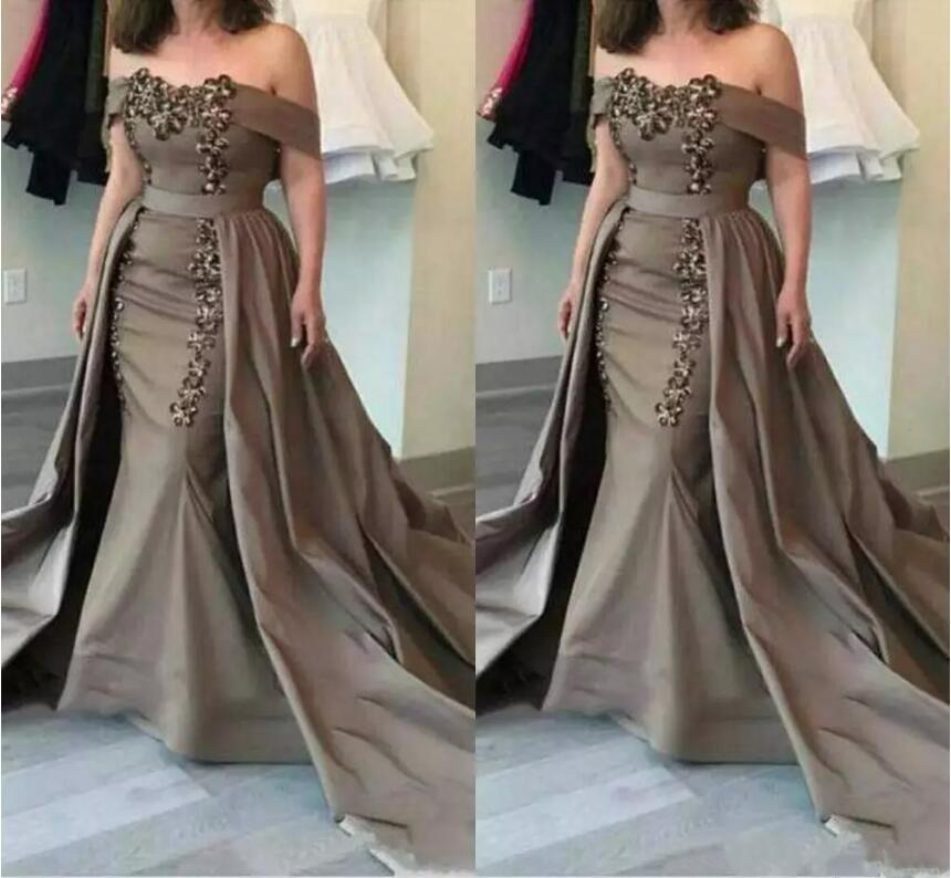 Vestido Novia Off-Shoulder Boat Neck Sequins Appliques Mermaid Formal Evening Gown 2018 Detachable Mother Of The Bride Dresses