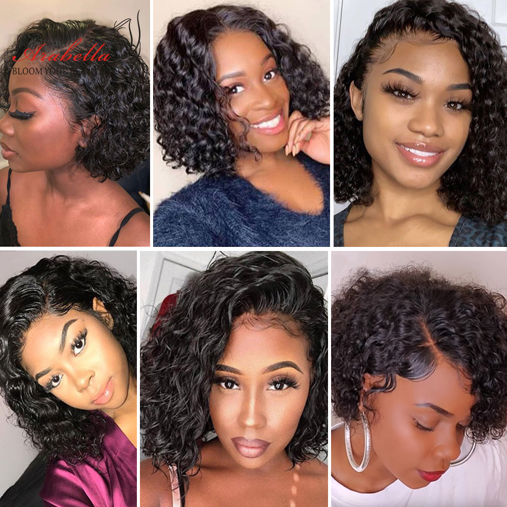 Wigs Baby Hair Curly Lace Front Jerry Pre Plucked Women  With Bob 180 Density Pixie Cut 13x4 Bob Wig Curly 4