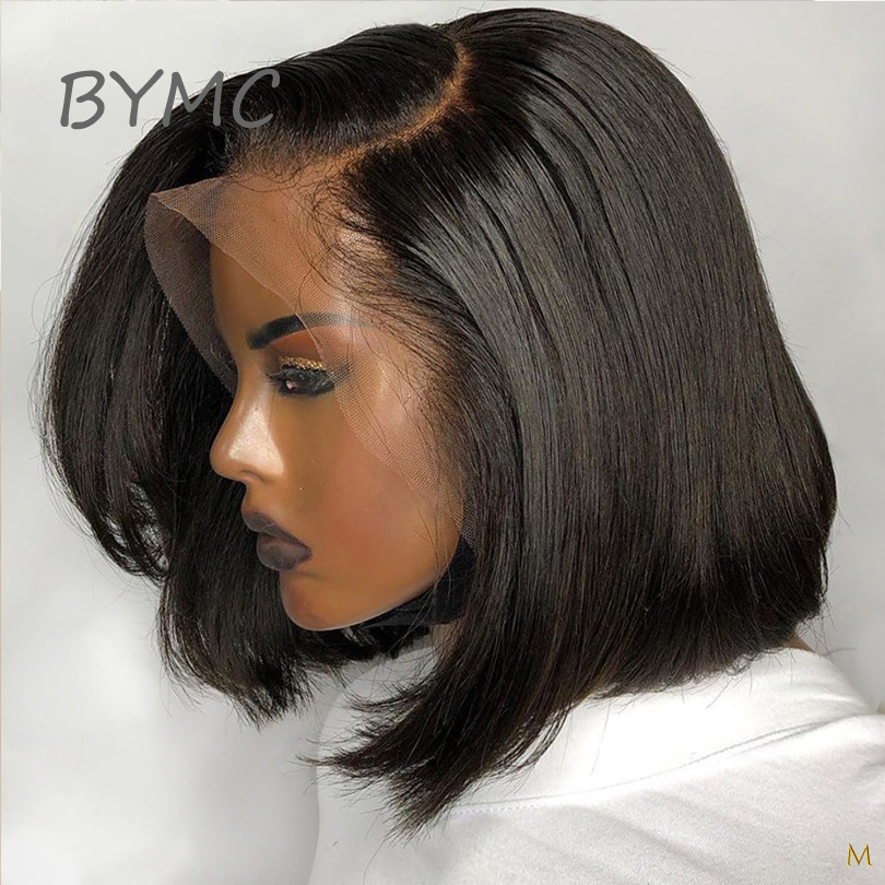 BYMC Short Cool Bob Glueless 13*6 Human Hair Wigs 180% Pre Plucked Straight Remy Hair Short Human Hair Bob Wig With Baby Hair