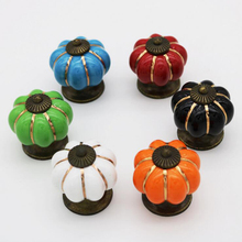 Single Hole Ceramic Handle Seven Color Pumpkin Cartoon Pastoral Modern Minimalist Cabinet Drawer Furniture Handle Children цена в Москве и Питере
