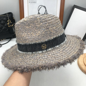 Image 5 - Sir Vacation seaside lafite grass hat sun hat foldable eaves beach cap gray