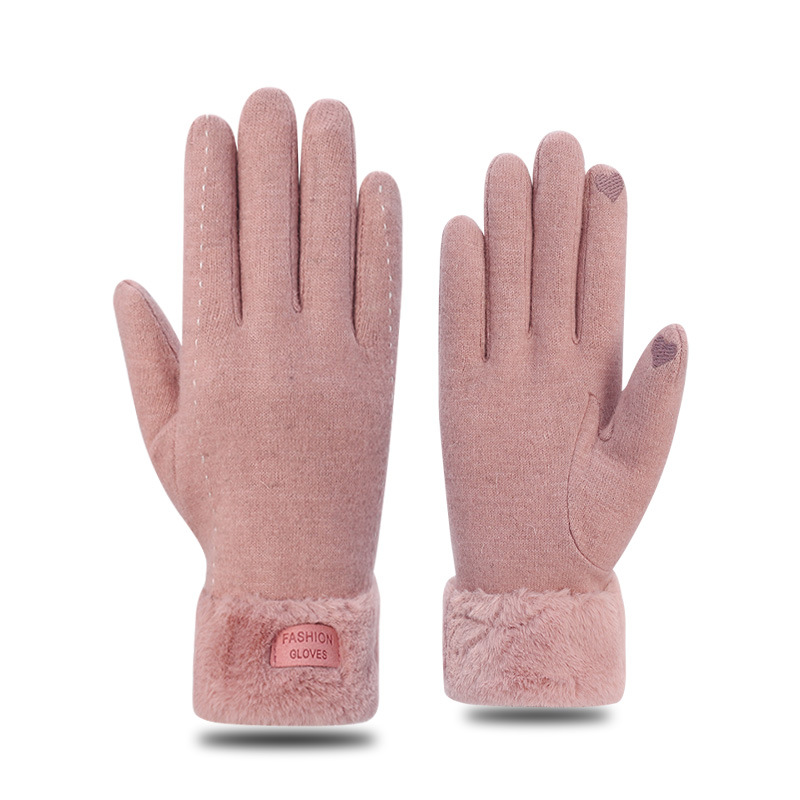 2021 Fashion Cashmere Ladies Autumn and Winter Plus Velvet Thickened Warmth Full Finger Cycling Driving Gloves Touch Gloves