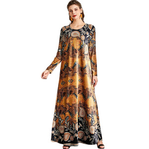 Ramadan Islamic Abaya Printed Velvet Ethnic Muslim Long Dress Eid Mubarak O-neck Middle East Arab Dubai Turkish Islamic Fashion