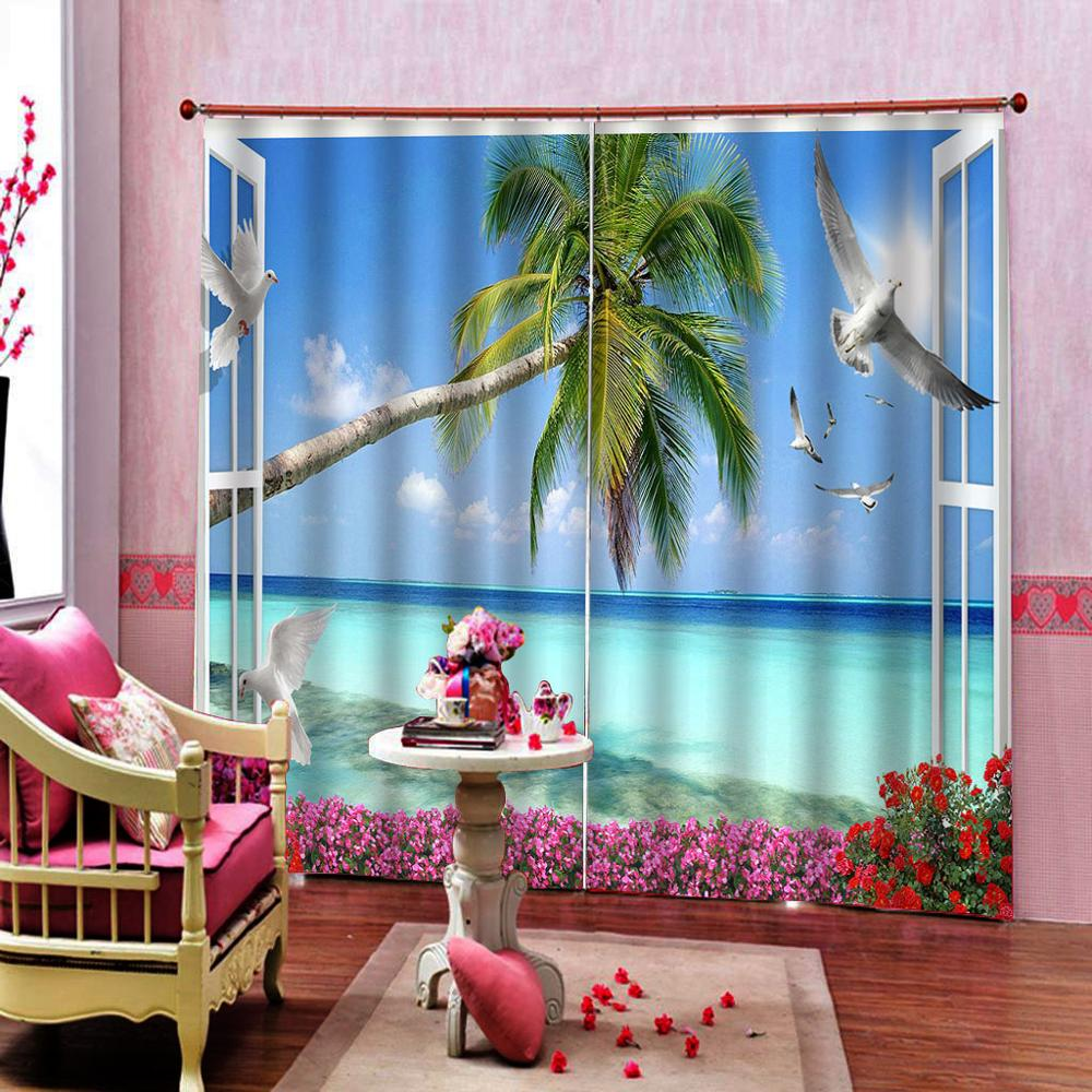 Blackout curtain Drapes Living room Bedroom Decor 2 Panels HooksWindow Curtains window beach curtains tree in Curtains from Home Garden