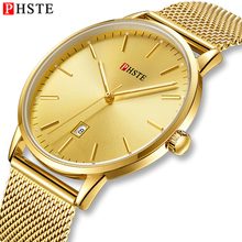 PHSTE Men Watch Quartz Japan Movt Luminous Date Clock Waterproof Slim Gold Steel Mesh Brand Luxury Man Wrist Watch Male Golden цена