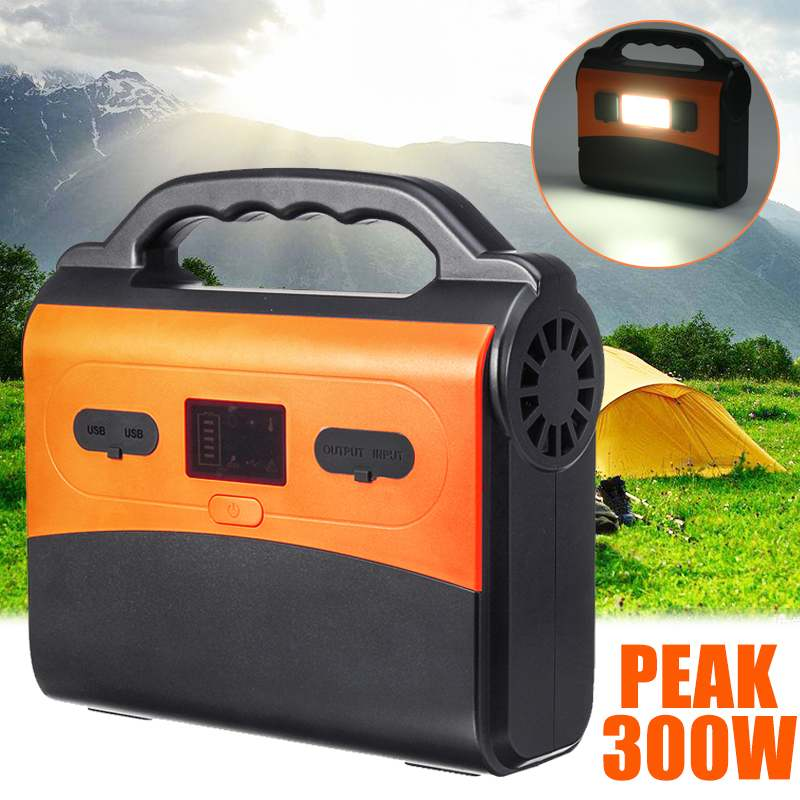 50000mAh 300W LCD Display Solar Power Storage Generator Inverter 145Wh Home Outdoor Power Supply USB Energy Storage+LED Light