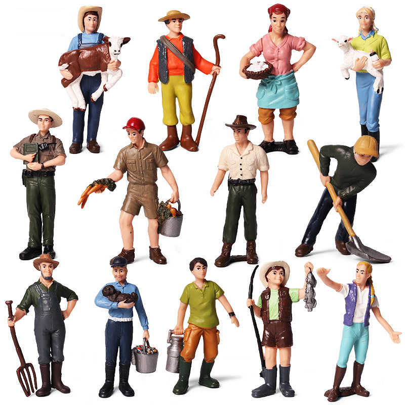 Hot DIY Farmer People Model Simulation Farm Staff Feeder Action Animals Model Figurine Miniature Lovely Toys For Kids Gifts