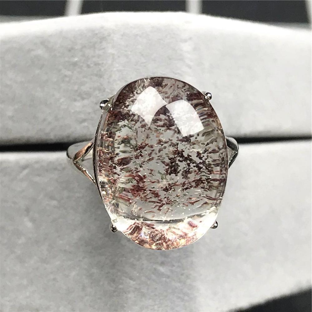 18x13mm Top Natural Red Phantom Quartz Ring Jewelry For Woman Lady Man Crystal Silver Beads Love Beauty Adjustable Ring AAAAA