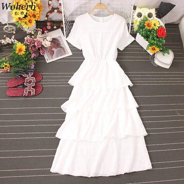 Woherb Vestido Midi Elegante Summer Sweet Ruffle Dress Women Short Sleeve Cake Dresses Korean Solid Cute Dress Robe Femme 4