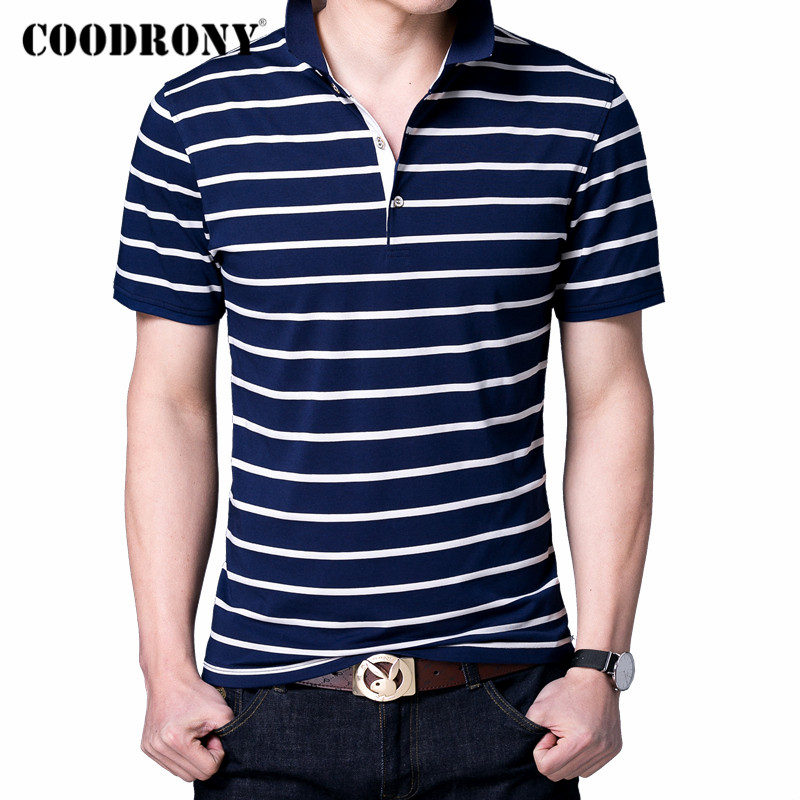 COODRONY 2020 Spring Summer New T-Shirt Men Fashion Striped Short Sleeve T Shirt Men Clothes Soft Cotton Tee Shirt Homme C5011S