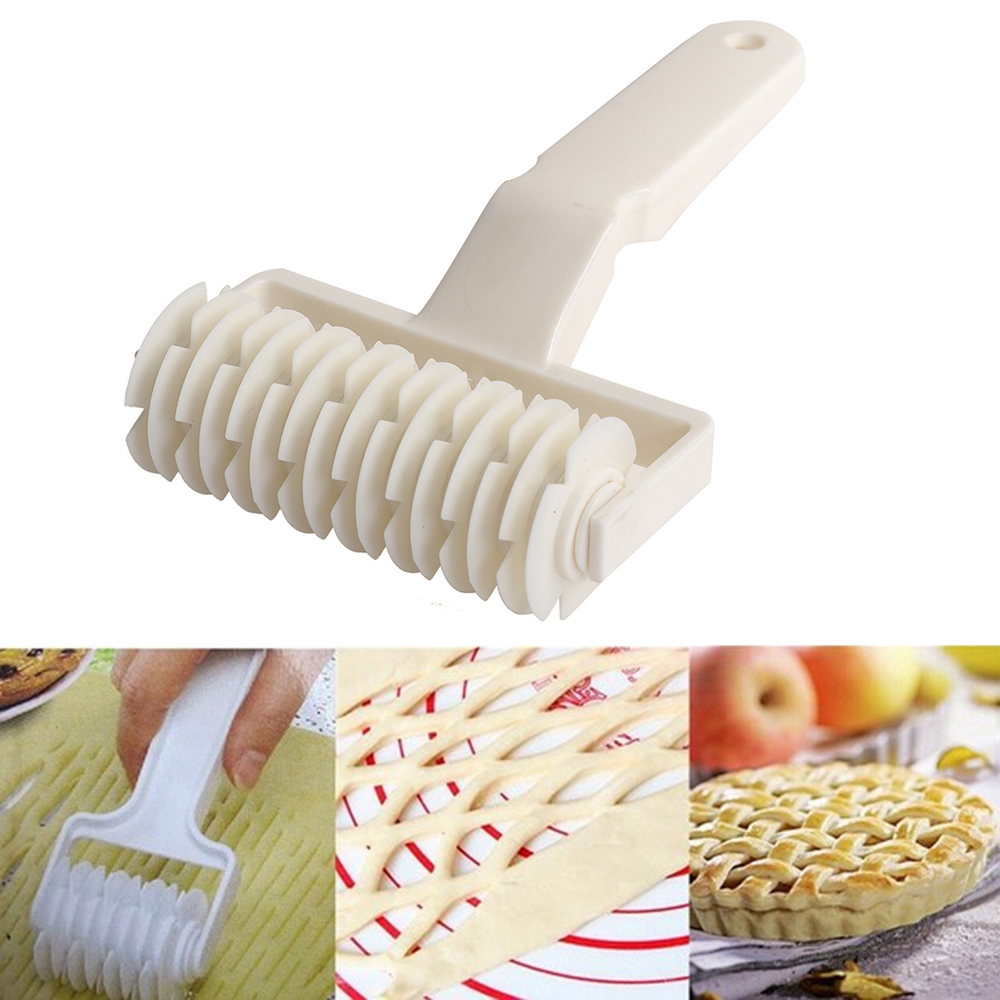 High Quality Pie Pizza Cookie Cutter Pastry Plastic Baking Tools Bakeware Embossing Dough Roller Lattice Cutter Craft Small Size image