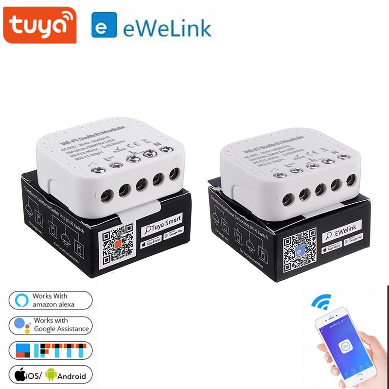 Tuya  Ewelink Smart Wifi Switch Module DIY Breaker App Control 16A Support An External Smart Switch Works With Alexa Google Home