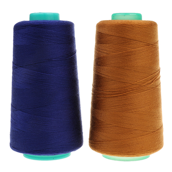 2 Spool Sewing Thread For Extra Strong Upholstery Jeans Demin Button Seams 3000 yards (Gold & Navy Blue) a spool of blue thread