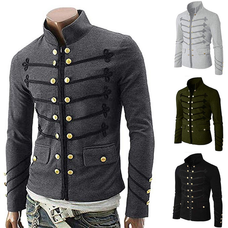 2019 Vintage Solid Men Gothic Jacket Steampunk Tunic Rock Frock Uniform Male Vintage Punk Costume Metal Military Coat Outwear