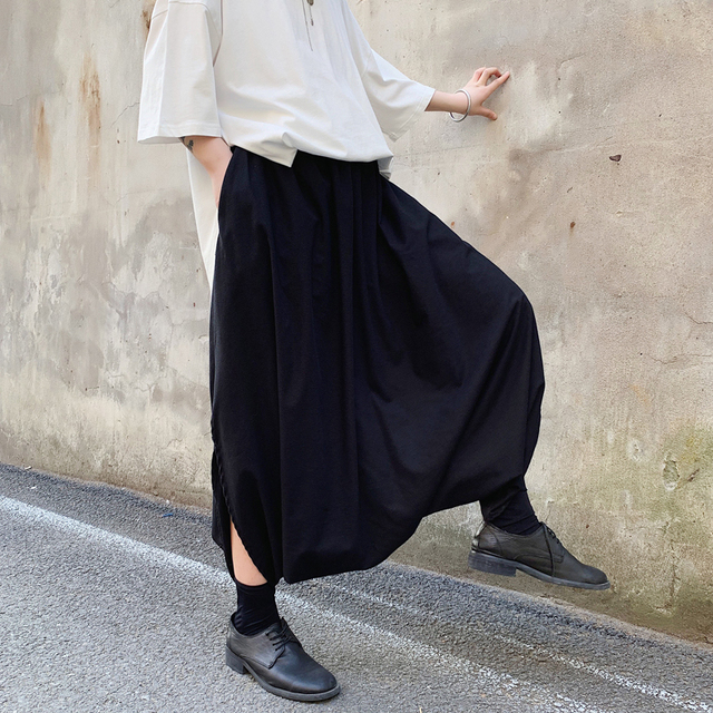 Harajuku Male Black Big Crotch Cross-pants Streetwear Mens Pants Harem Trouser Dance Split Skirt Hiphop Baggy Wide Legs 34