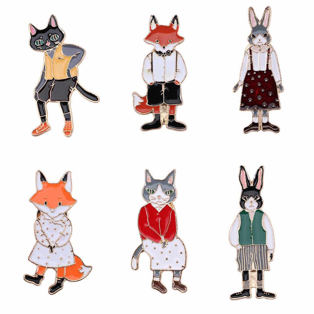 Animale del fumetto Dello Smalto Spille Femminile Coniglio Spilla/Fox/Coppia Gatto Distintivi e Simboli Spille Cappello Zaino Spille Abbigliamento Accessori Mujer