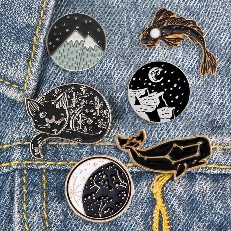 Dreamy Constellation Whale Luna Kucing Koi Enamel Pin Indah Gunung Salju Lencana Bros Kemeja Tas Kerah Pin Hewan Perhiasan Hadiah