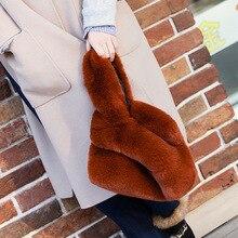 Сумка LANMMRE/Новинка, Индивидуальная сумка из искусственного меха кролика для женщин, универсальная одноцветная сумка-мешок AI963