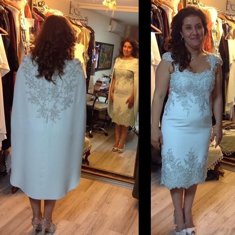 Matched Wraps Applique Elegant Tea Length Cap Sleeve Wedding Guest Gown Women Evening Lace Sheath Mother Of The Bride Dresses