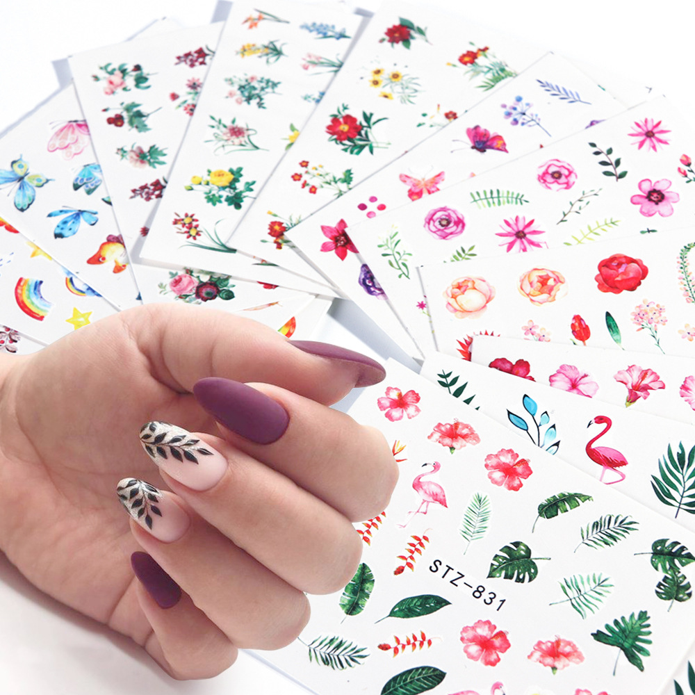 Cross Border For Hot Selling A Watermarking Adhesive Paper New Style STZ Series Online Celebrity Nail Watermark Flower Vine God