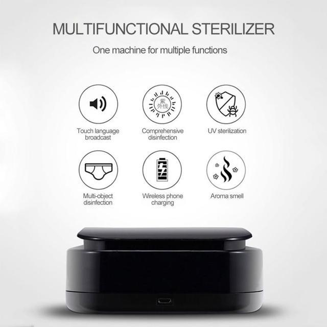 UV Disinfection Box Sanitizer Charger Prevent Flu For iPhone/Samsung Mobile Phone Headphones Mask Sterilizer Kill 99.9% Viruses 4