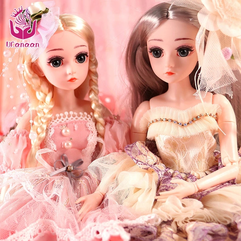 UCanaan 18 Inch 45CM 1/4 BJD Dolls 18 Ball Jointed Doll For Girls With Full Outfits Dress Shoes Makeup SD Doll Toys For Children