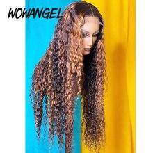 Pelucas de cabello humano Remy brasileño prearrancado, encaje Frontal de 13x6, 4x4, cierre de encaje rizado, degradado, Rubio blanqueado, nudos 180%