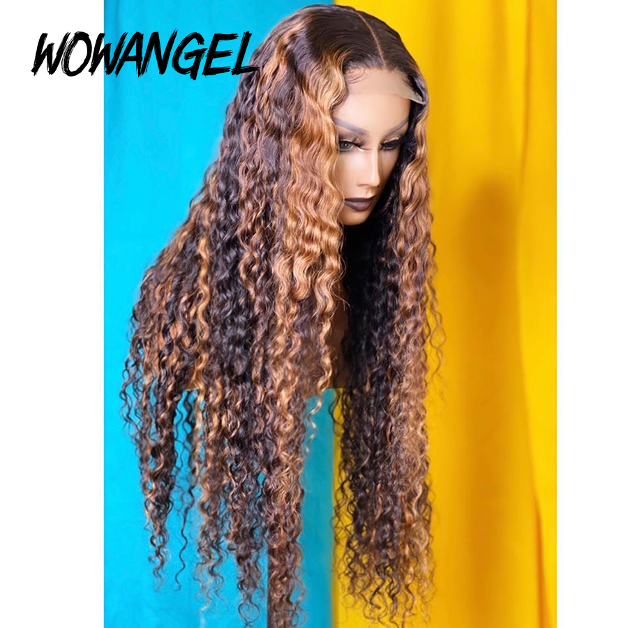 WOWANGEL Pre Plucked Brazilian Remy 13*6 Lace Front Human Hair Wigs Curly Ombre Highlight Blonde Bleached Knots 180% Deep Part