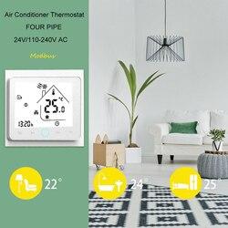 Termostato Ar Condicionado Central Termostato Modbus 4-Pipe Três Velocidade Do Vento LCD Toque Branco  BAC-002ELN Termostato