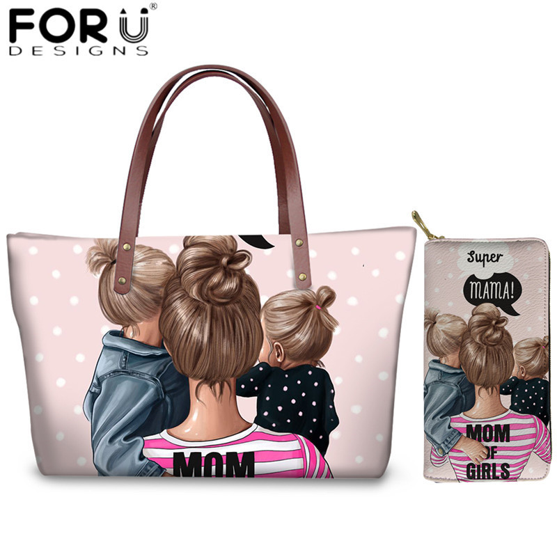 FORUDESIGNS Kawaii Super Mom Purse & Wallet 2pcs/set Brand Designer Handbag Bags For Women Summer Beach Tote Bags Bolsa Feminina