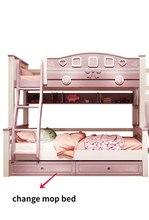 Cama das crianças alta e baixa cama de madeira maciça rosa superior e inferior cama de beliche duas camadas princesa moderno beliches superiores e inferiores