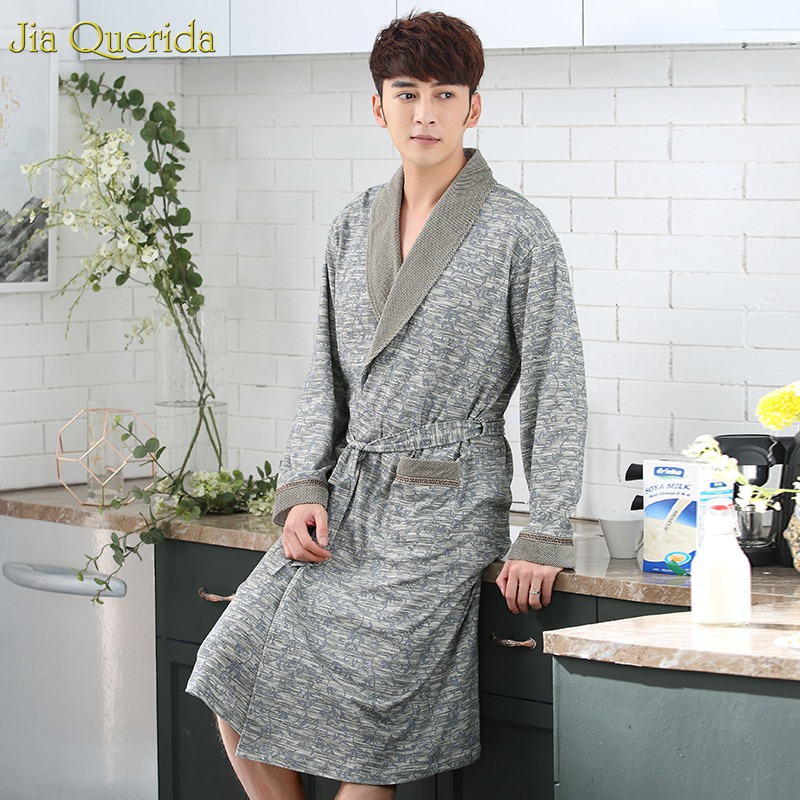 Men's Robe 100% Cotton Bath Robes Minimalist Style Long Sleeve Kimono High Quality Nightwear Bathrobe House Coat Plus Size Robes