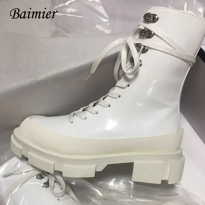 Winter Boots Women Platform Ankle Boots For Women Black Hick Heel Creepers Riding Boots Lace Up Botas Mujer Punk Style Rubber