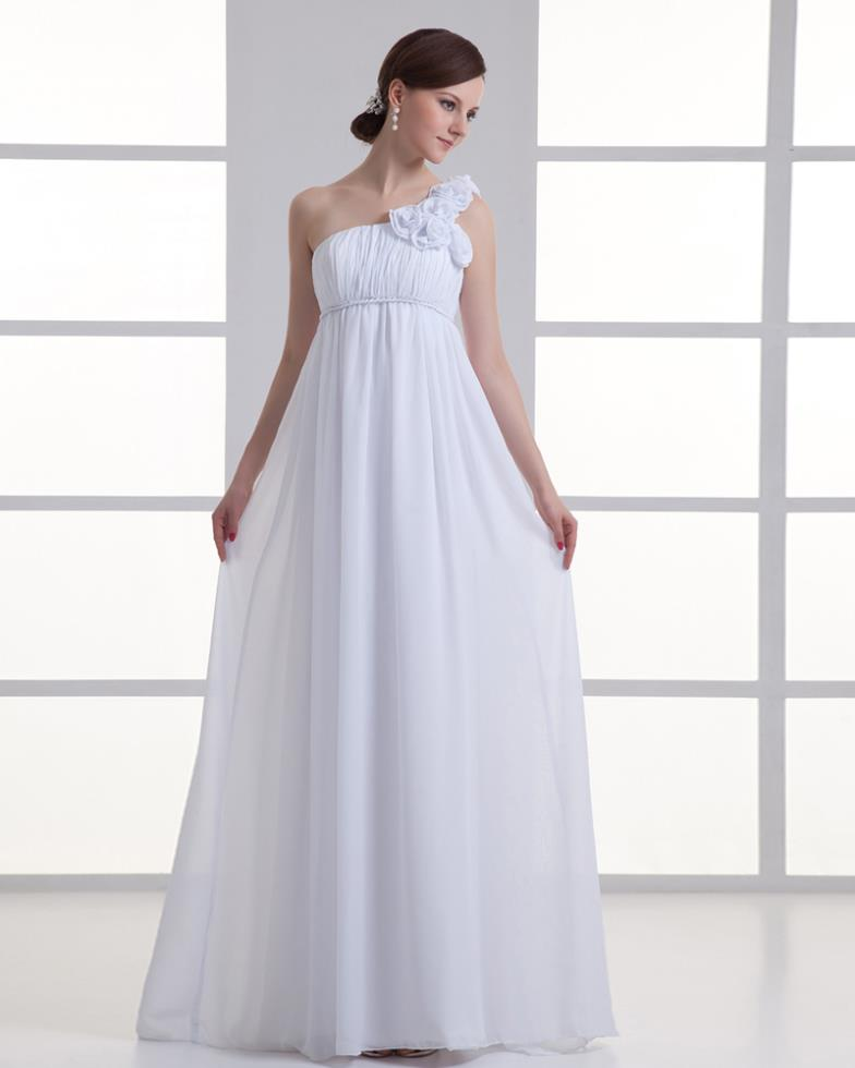 Free Shipping 2018 New Formal Custom Color/size Pregnant Women One-Shoulder White Sweetheart Long Pageant Bridesmaid Dresses