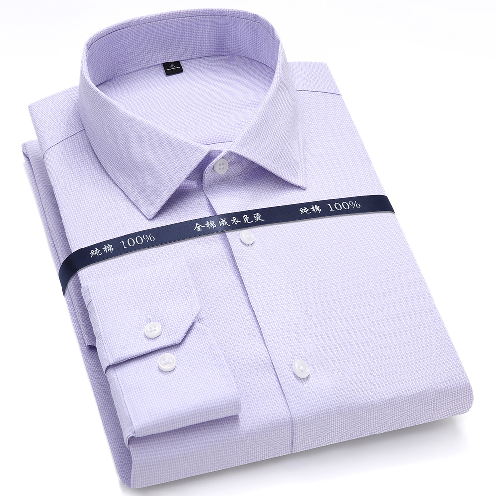 Top Quality Mens Formal Dress Shirts Long Sleeve White Pure Cotton Business Slim Fit Plus Size Office Non Iron Men Men's Clothings Men's Shirts Men's Tops