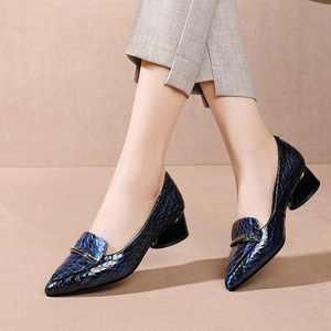 Image 2 - Krazing Pot print genuine leather fashion metal decorations pointed toe med heels slip on loafers leisure daily wear pumps L83