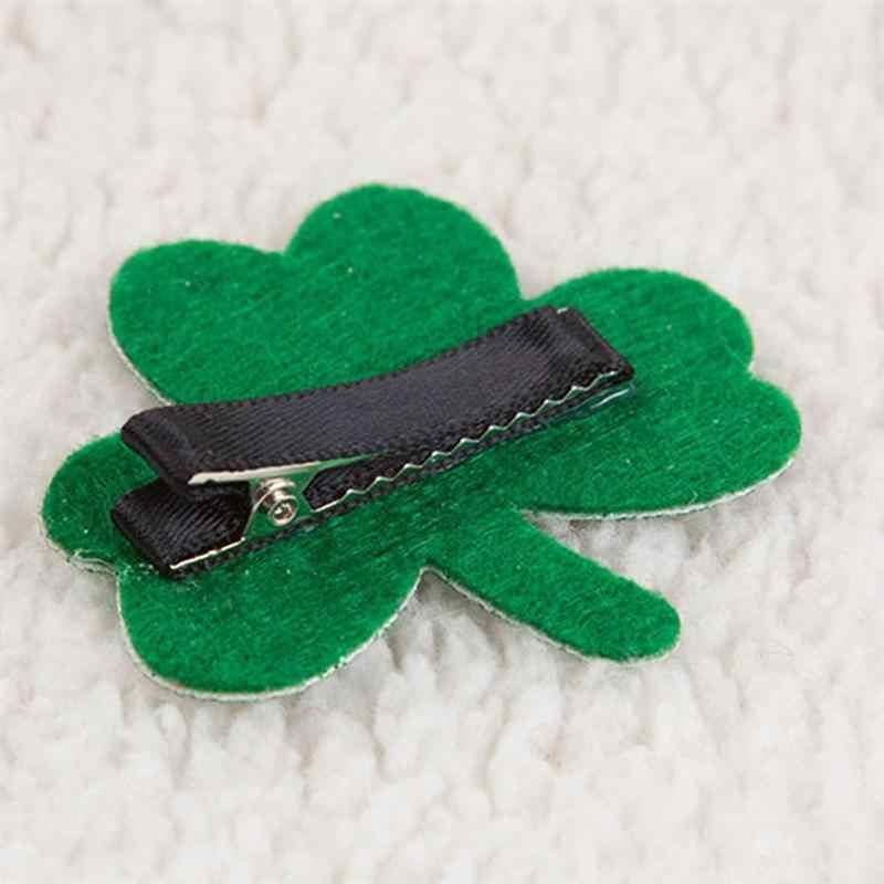 2 sztuk dziewczyny strona dekoracji zielony czterolistny liść koniczyny spinki do włosów spinki do włosów stroik peruki imprezowe akcesoria dzieci dziewczyna A35