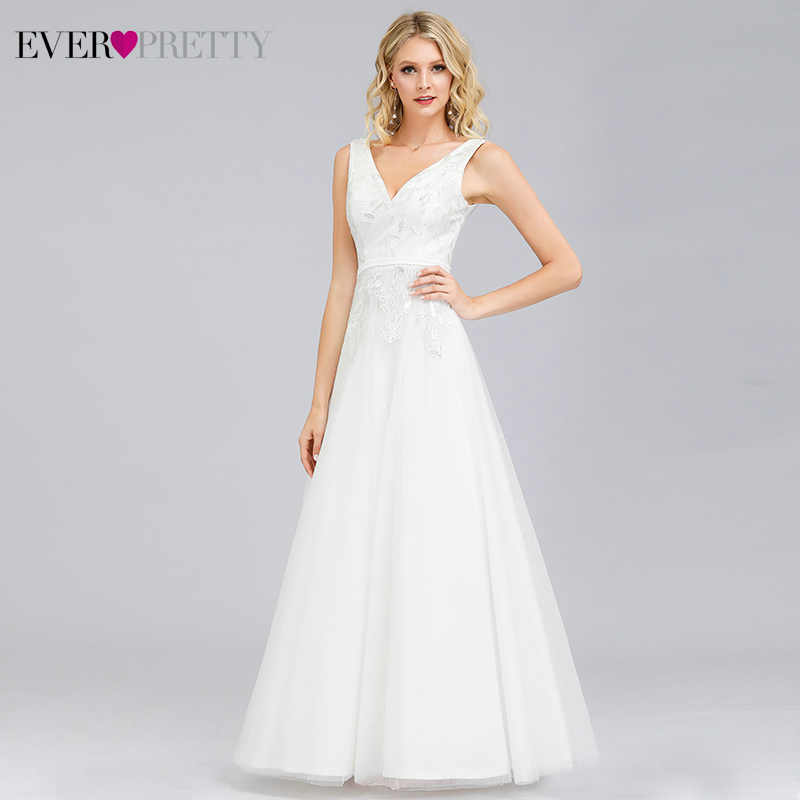 Ever Pretty White Evening Dresses Long Lace Embroidery A-Line V-Neck Sleeveless Sexy Evening Gowns Vestidos De Fiesta Largo