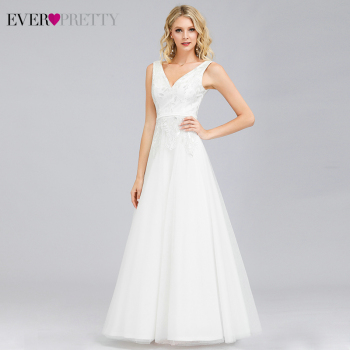 Ever Pretty White Evening Dresses Long Lace Embroidery A-Line V-Neck Sleeveless Sexy Evening Gowns Vestidos De Fiesta Largo navy blue satin evening dresses ever pretty ep07934nb a line v neck elegant formal long dresses vestidos de fiesta de noche 2020