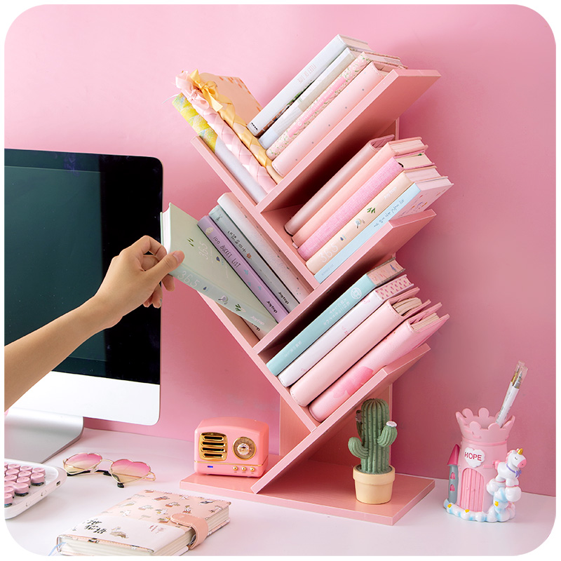 Book-Shelf Wooden Pink Girl Home-Decoration for Tree-Shape Hotel School title=