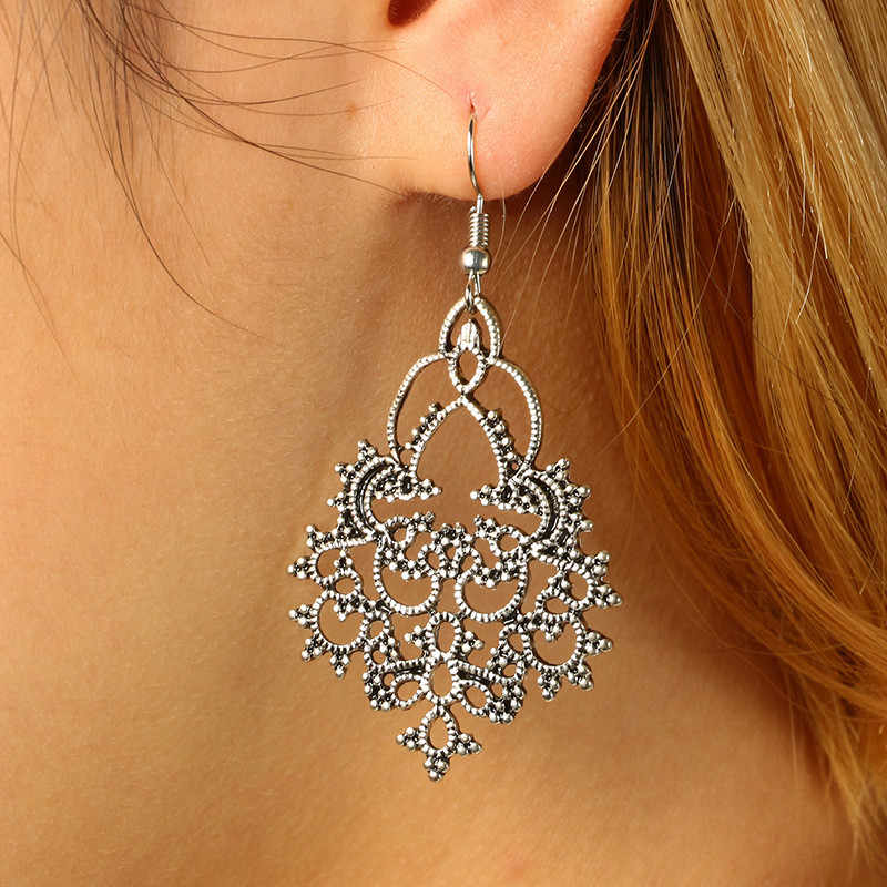 Simple Silver Color Snow Flower Pendant Hanging earring 2019 Fashion Retro Vintage Alloy Drop Dangle Earring Wholesale