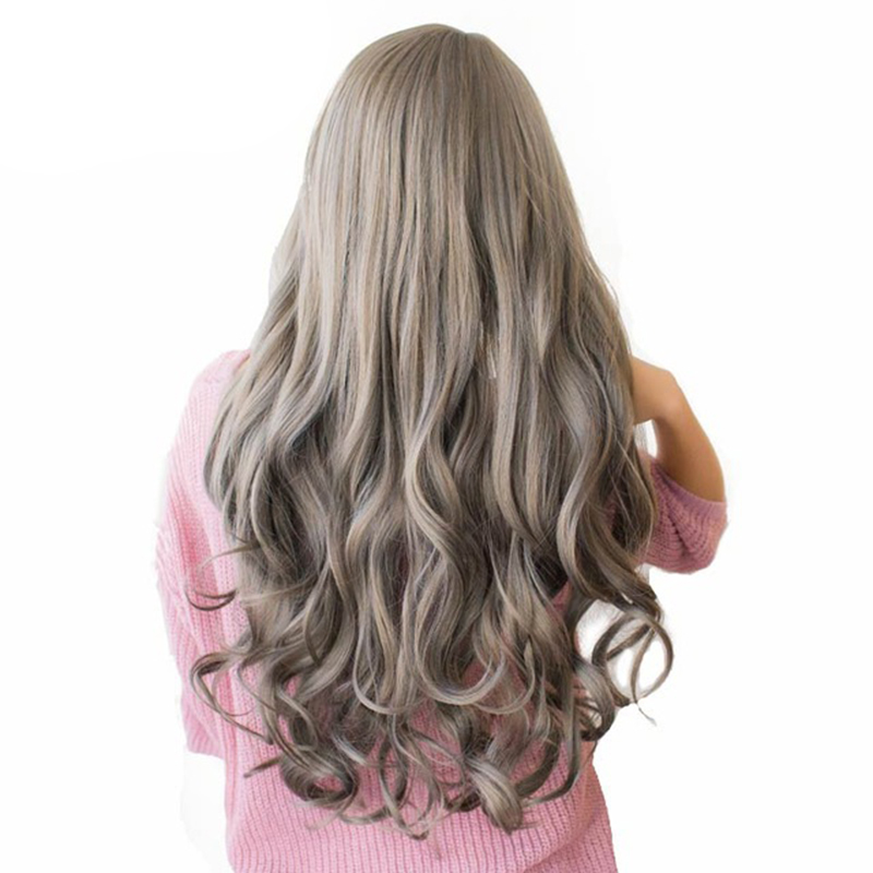 WTB Long Brown Ash Blonde Grey High Density Temperature Synthetic Wigs For Black/White Women Glueless Wavy Cosplay Hair Wig 26