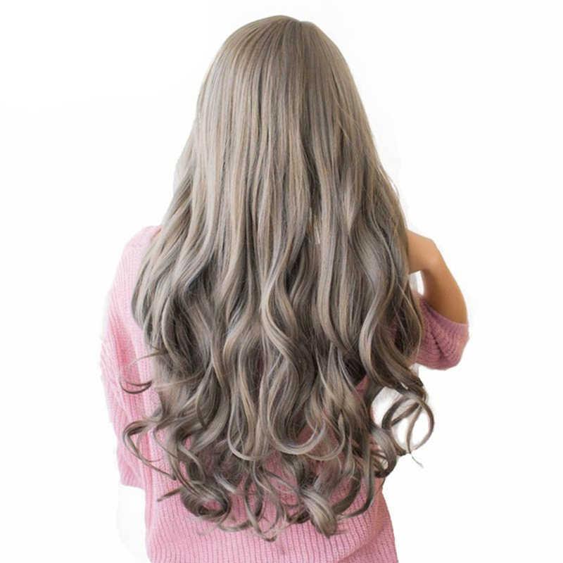 """WTB Uzun Kahverengi Kül Sarışın Gri Yüksek Yoğunluklu Sıcaklık Sentetik Peruk Siyah/Beyaz Kadınlar Tutkalsız Dalgalı kostümlü oyun saç peruk 26"""""""