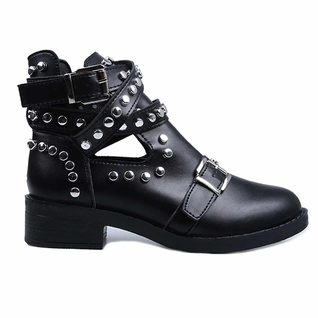 SAGACE Boot Women Fashion Rivet Belt Buckle ankle boots for women Boot Student Casual Shoes Women 2019 Large Size Single Shoes