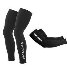 2021 pro equipe raudax aquecedores de perna proteção uv preto ciclismo braço mais quente respirável bicicleta corrida mtb perna manga