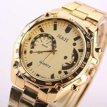 Men Gold Fashion Luxury Brand M&H Quartz Wrist Watch Full High Quality Stainless