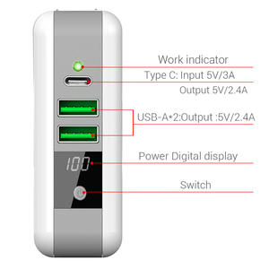 Image 4 - Multi funktion Drahtlose Ladegerät EU UNS UK AU Reise Stecker QI Wireless Charging Power Bank mit Digital Screen für IPhone 8 X Xs/r