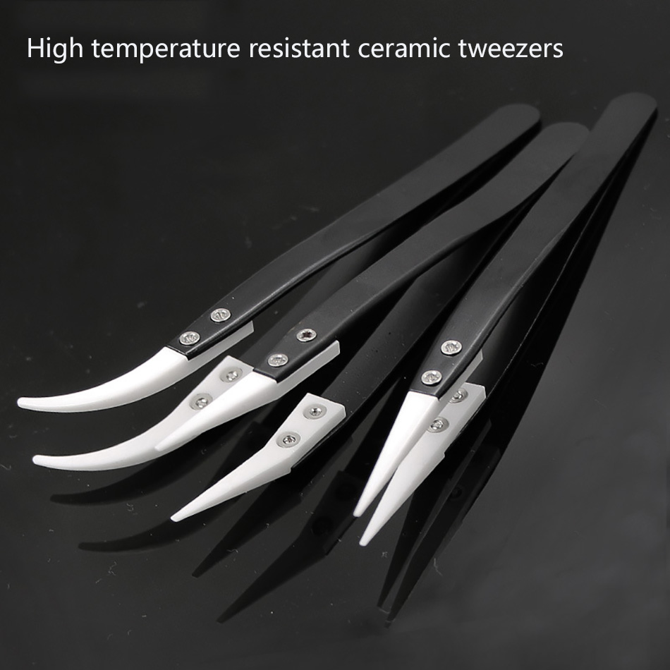 Anti-Static Ceramic Tweezers Curved Straight Tip Electronic-Cigarette Stainless-Steel Industrial-Precision